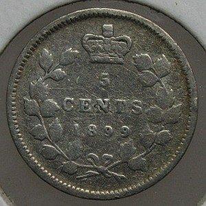 1899 silver 5 cent canada