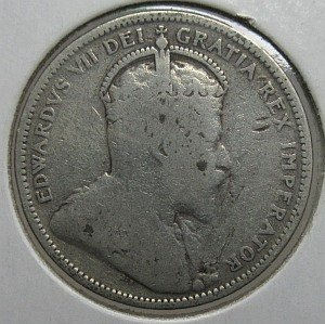 1906 25 cents large crown