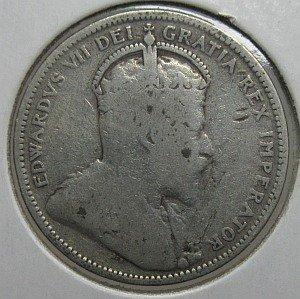 1906 25 cents large crown