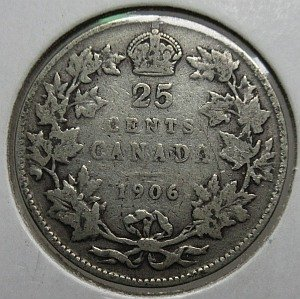 1906 large crown 25 cents
