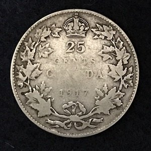 Canada 1917 silver 25 cents