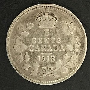 1918 Canada 5 Cent Silver