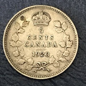 1920 silver 5 cents