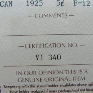 1925 5 cents ICCS Grade