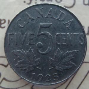 1925 Canada 5 Cents ICCS