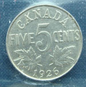 1926 Canadian nickel far 6