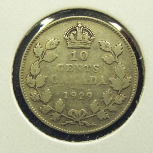 1929 Canadian dime