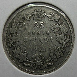 1931 25 cents Canada