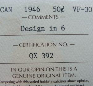 1946 half dollar design in 6