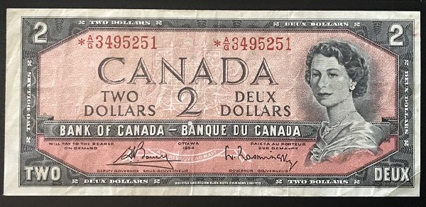 1954 $2 replacement banknote