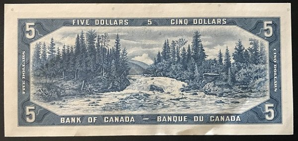 1954 $5 Canada banknote