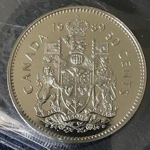 1989 50 cents Canada iccs grade