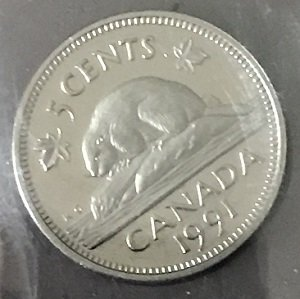 1991 Proof 5 Cents Canada