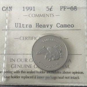 1991 PF68 5 Cents Canada