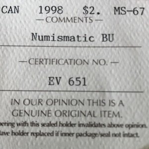 Certified MS67 Canadian $2