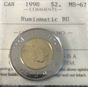 1998 $2 Canada ICCS MS67