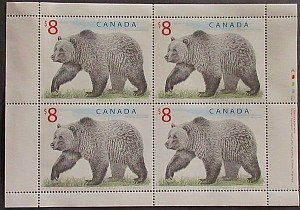 $8 Mint Canadian Stamp Grizzly