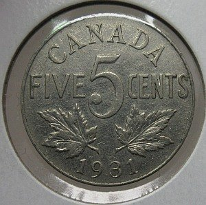 1931 Canadian nickel 5 cents
