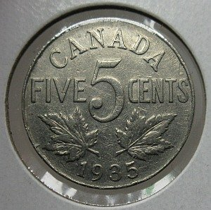 1935 Canada 5 Cents Nickel