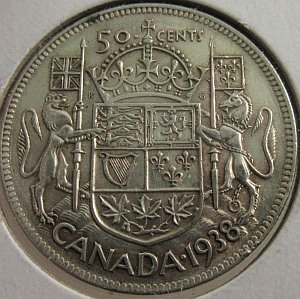 1938 Canada 50 Cents silver