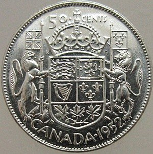 1952 Canadian Fifty Cents Silver Coin