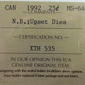 N.B. rotated dies 25 cents 1992