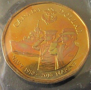 2010 Navy $1 Loonie RCM package